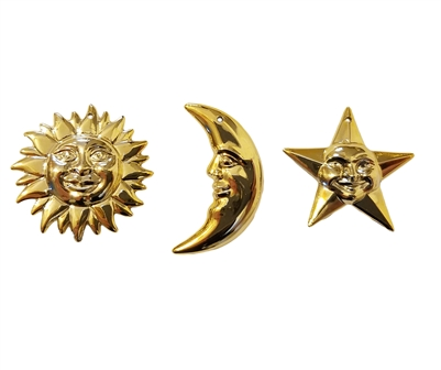 Celestial Sun, Moon & Star Gold Plastic Craft Charms, 12 ct Bag