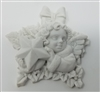 "2-1/2"" Alabaster Resin Cherub Angel with Star Christmas Plaque"