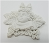 "2-1/2"" Alabaster Resin Cherub Angel with Holly Christmas Plaque"
