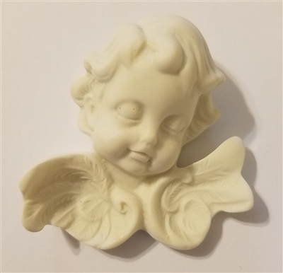 "2-1/4"" Alabaster Resin Cherub Angel Plaque"