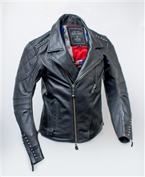 Iconic 1950's Rock and Roll style studded leather jacket, patch work on the back, and liner with access zipper.