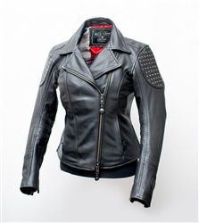 access zipper in the jacket liner to allow access to the backside of the leather outer, studded shoulder panels and single back patch, Top-grain, drum-dyed, abrasion-resistant cowhide, Multi-ply, UV-resistant nylon thread, Internal pockets.