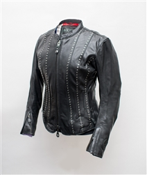 Leather Jacket is adorned with studs arranged in slimming vertical lines that accentuate curves and add a touch of feminine flash to the classic leather motorcycle jacket design.