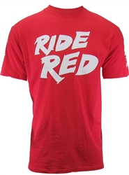 The Ride red Honda tee features the classic Ride Red Honda screen printed graphics on the front, sponsor logos on both sleeves, and the iconic Honda wing on the back.