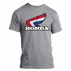Retro Red/White/Blue Honda wing screen print on the front center chest.