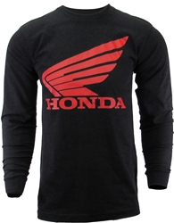 Honda Wing logo screen print on the front center, Honda lettering printed down the left sleeve.