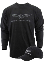 New Goldwing logo screen print on the front center and Goldwing with stripe graphic printed stripe down the right sleeve. 100% cotton twill unconstructed hat . Black with white wing logo front. Buckled backside with a low profile.