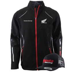 HONDA RACING LIGHTWEIGHT SOFT SHELL JACKET & UNCONSTRUCTED HAT GRAY