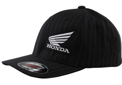 Corporate Honda Wing logo embroidery on the front left side of panel.  MI small logo embroidery on the center back.
