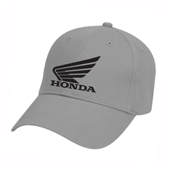 Charcoal w/ black embroidery corporate Honda Wing logo embroidery on the center front, MI small logo embroidery on the left side.