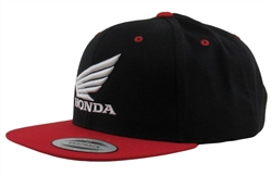 HONDA FLAT BILL SNAP BACK BLACK & RED