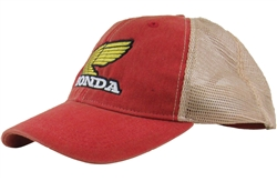 Corporate Retro Honda Gold Wing logo on The Front center, Vintage Wash Red with Beige mesh