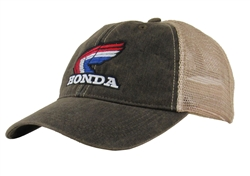 Corporate Retro Honda Red/White/Blue Wing logo on The Front center, Vintage Wash Black with Beige mesh