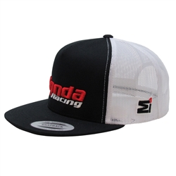 Black and white two-tone trucker hat with 3D Honda Racing Embroidered Logo on The Front Center, Embroidered M1 Logo on the front Left Side Panel.