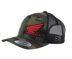 Camo front panels, Black Mesh back, Red Embroidered Flat Honda Logo, MI Flat Embroidered Logo on the left side, Snap Back Closure, Trucker Hat Style, Curved Bill.