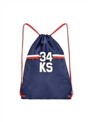 Blue gym bag with red drawstrings and riders racing number 34