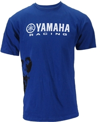 Official license Yamaha product. Blue tee with white Yamaha t shirt design lettering and bike side graphic.