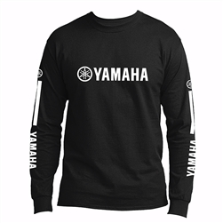 Yamaha Corporate logo screen print on the front center.  MI small logo screen print on the back of the neck yoke.  Yamaha Corp. stripe logo on each sleeve.
