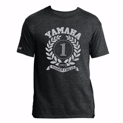 Vintage inspired race graphic screen print on the front center.  Yamaha Corp. print logo on the back-neck yoke.