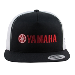 Official Licensed Yamaha Product, Flat Bill, Snap Back Closure, White Mesh Back, Classic Trucker Hat, Flat Embroidered Yamaha Logo, MI Logo Embroidered on side panel