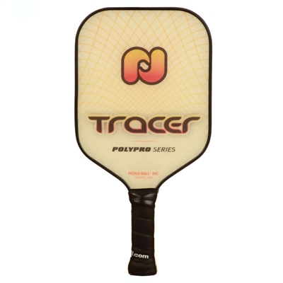 PolyPro Tracer Pickleball Paddle featuring a polypropylene core and flexible PVC edge-guard. Available in blue, pink and orange.