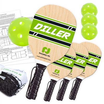 Diller Pickleball Set includes black net, 4 imported wooden paddles, and  4 balls.