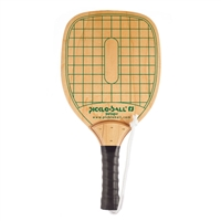 Wooden Swinger Pickleball Paddle featuring a green grid-like pattern and Pickleball, Inc. logo on the paddle face. Includes white safety wrist strap and black grip handle.
