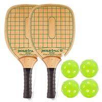 Swinger Wood Paddle 2-Player Bundle-two wood paddles and four green Jugs balls