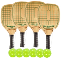Swinger Wood Paddle 4-Player Bundle- four wood paddles and six green Jugs balls