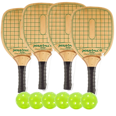Swinger Wood Paddle 4-Player Bundle- four wood paddles and four balls