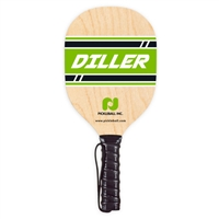 Wooden Diller Pickleball Paddle featuring a clear-finished plywood with a band of green across the bottom of the paddle accented by the Pickle-ball, Inc. logo and the Diller name in green.