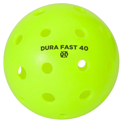 Dura Fast Outdoor Pickleballs available in white, yellow, orange or neon green.