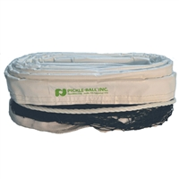 Outdoor Pickleball Net - Heavy Duty features white trim accented by grommets and the Pickleball, Inc. logo in green.