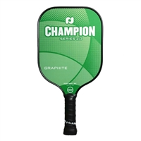 "Champion Graphite Pickleball Paddle featuring a crisscrossing design and ""Champion Series"" across the front. Available in vibrant color options including blue, orange and red."