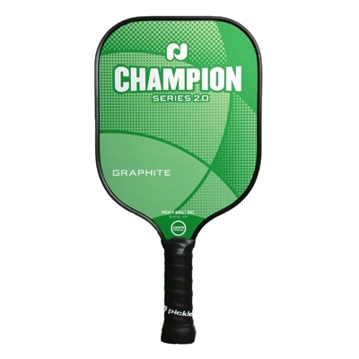 "Champion Graphite Pickleball Paddle featuring a crisscrossing design and ""Champion Series"" across the front. Available in vibrant color options including green, orange and red."