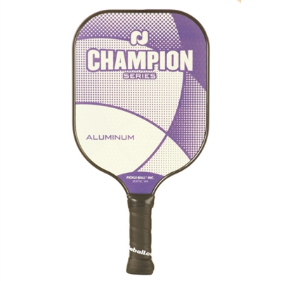 "Champion Aluminum Pickleball Paddle featuring ""Champion Series"" across the front and a low-profile edge guard. Stylish crisscross design available in 2 colors."