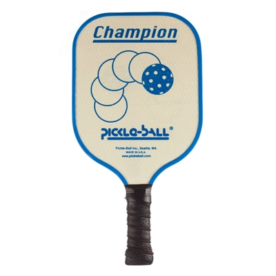"Vintage Champion Aluminum Pickleball Paddle featuring a soaring pickleball on a natural, unpainted background. The word ""Champion"" appears across the top of the paddle and ""Pickle-ball"" appears above the handle. Available in red, blue, green and purple."