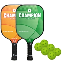 Champion 2-Player Bundle -  two graphite paddles and six indoor balls.