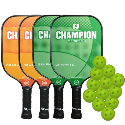 Champion 4-Player Bundle - FOUR Graphite Paddles and TWELVE balls