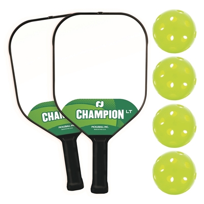 Champion LT 2-Player Pack includes 2 paddles and 4 green indoor balls.