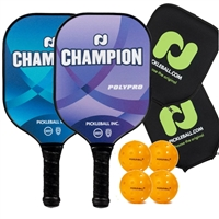 Champion PolyPro 2-Player Bundle w/Covers -  two paddles, 4 outdoor balls, and two paddle covers.