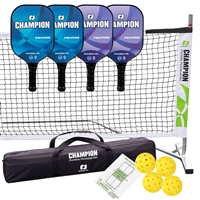 Champion PolyPro Set - includes portable lightweight net, 4 Champion PolyPro paddles (2 blue/2 purple), and 4 yellow Dura Fast 40 outdoor pickleballs.
