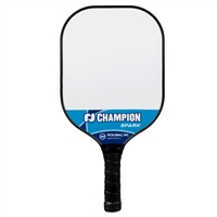 Champion Spark Pickleball Paddle featuring a polypropylene core and polycarbonate face. Available in blue,or pink.