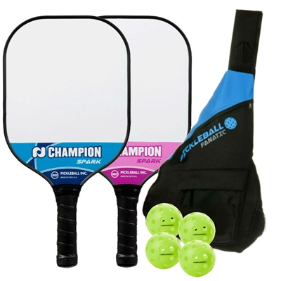 Champion Spark 2-Player Bundle w/Sling Bag -  two paddles, 4 outdoor balls, and sling bag
