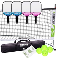Champion Spark Pickleball Set - includes portable lightweight net, 4 Champion Spark paddles (2 blue/2 pink), and 4 green Jugs indoor pickleballs.
