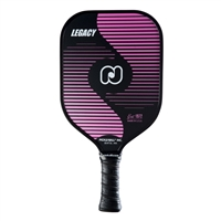 Legacy Pickleball Paddle featuring a horizontal stripe design, the classic pickleball logo and a cushion grip. Available in 4 colors.