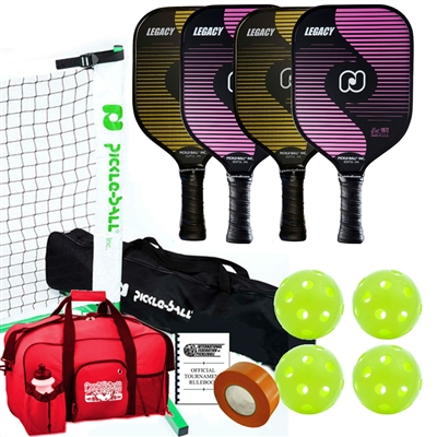 Tournament Legacy Pickleball Set -  Net, Four Paddles, Four Pickleballs, Bag, Tape and Rule Book