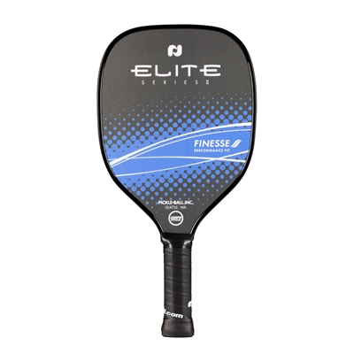 "Elite Series Finesse Pickleball Paddle featuring ""Elite"" across the top center of the paddle.  A band of color across the lower portion of the paddle showcases the word ""Finesse"". Available in orange or magenta."