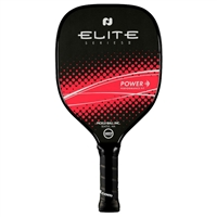 "Elite Series Power Pickleball Paddle features ""Elite"" across the center and a black background accented by a band of color showcasing the word ""Power"".  Available in teal and lime green."