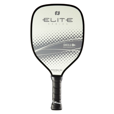 "Elite Skill Pickleball Paddle featuring ""Elite"" across the center accented by a gray and white design. Includes black edge guard and cushion grip."